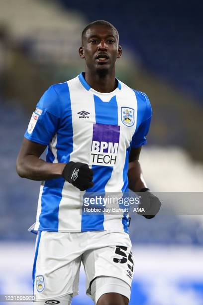 Yaya Sanogo of Huddersfield Town during the Sky Bet Championship match between Huddersfield Town and Cardiff City at John Smith's Stadium on March 5,...