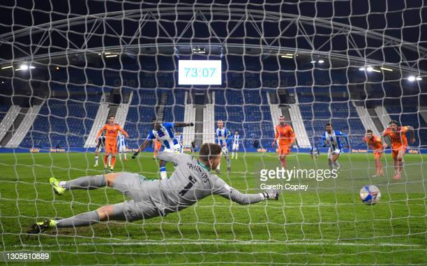 Yaya Sanogo of Huddersfield Town misses a penalty during the Sky Bet Championship match between Huddersfield Town and Cardiff City at John Smith's...