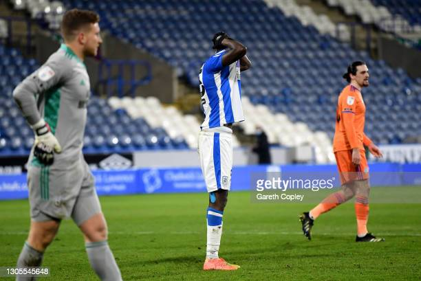 Yaya Sanogo of Huddersfield Town reacts after missing a penalty during the Sky Bet Championship match between Huddersfield Town and Cardiff City at...