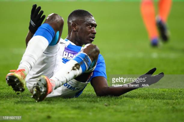 Yaya Sanogo of Huddersfield Town reacts during the Sky Bet Championship match between Huddersfield Town and Cardiff City at John Smith's Stadium on...