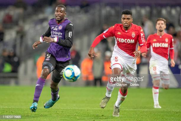 December 04: Yaya Sanogo of Toulouse and Jemerson of Monaco challenge for the ball during the Toulouse FC V AS Monaco, French Ligue 1 regular season...