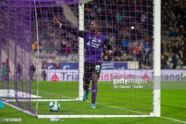 December 04: Yaya Sanogo of Toulouse celebrates after scoring a first half penalty for his side during the Toulouse FC V AS Monaco, French Ligue 1...