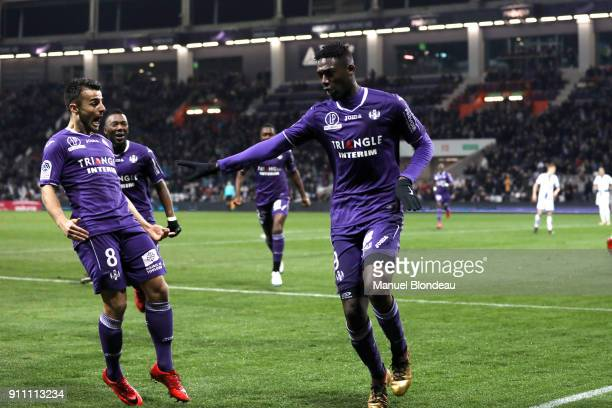 Yaya Sanogo of Toulouse celebrates during the Ligue 1 match between Toulouse and Troyes at Stadium Municipal on January 27 2018 in Toulouse