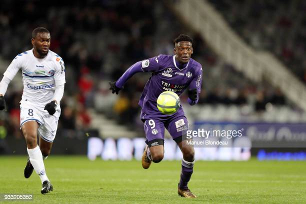 Yaya Sanogo of Toulouse during the Ligue 1 match between Toulouse and Strasbourg at Stadium Municipal on March 17 2018 in Toulouse