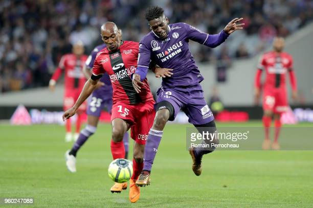 Yaya Sanogo of Toulouse in action during the Ligue 1 match between Toulouse and EA Guingamp at Stadium Municipal on May 19 2018 in Toulouse
