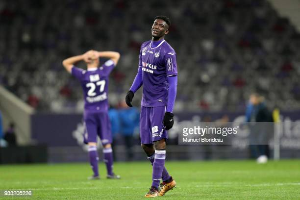 Yaya Sanogo of Toulouse looks dejected during the Ligue 1 match between Toulouse and Strasbourg at Stadium Municipal on March 17 2018 in Toulouse