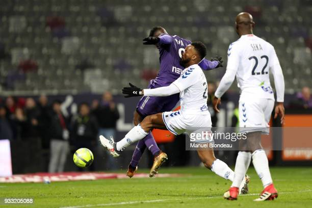 Yaya Sanogo of Toulouse scores his side s second goal during the Ligue 1 match between Toulouse and Strasbourg at Stadium Municipal on March 17 2018...