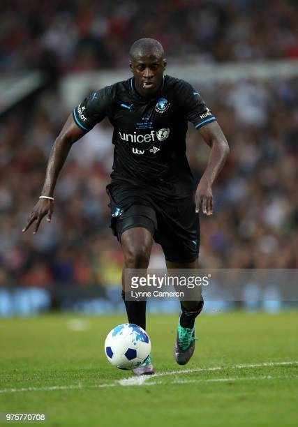 Yaya Toure controls the ball during the Soccer Aid for UNICEF 2018 match between England and The Rest of the World at Old Trafford on June 10, 2018...