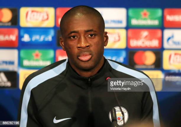 Yaya Toure during a Manchester City press conference on December 5 2017 in Kharkov Ukraine