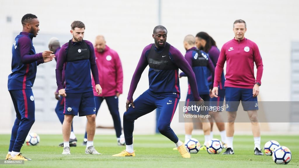 Yaya Toure during training at Manchester City Football Academy on August 25, 2017 in Manchester, England.