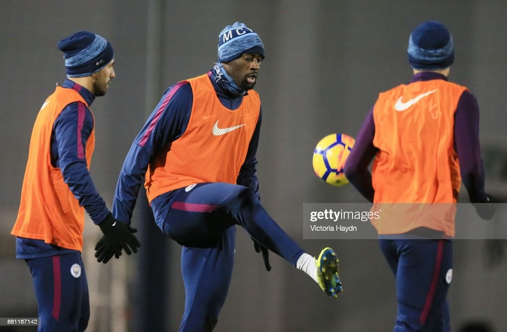 Yaya Toure in action during training at Manchester City Football Academy on November 28, 2017 in Manchester, England.