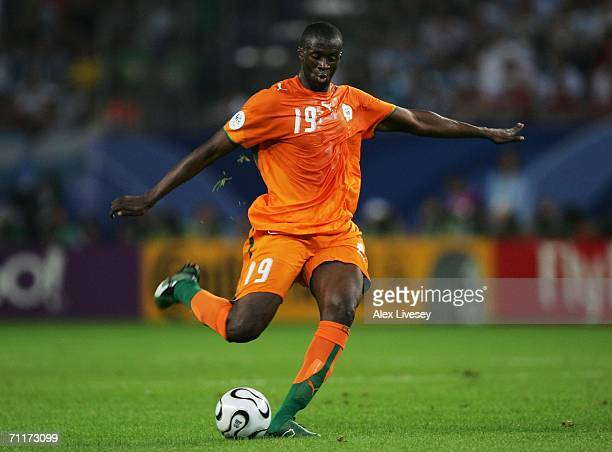 Yaya Toure of Ivory Coast passes the ball upfield during the FIFA World Cup Germany 2006 Group C match between Argentina and Ivory Coast played at...