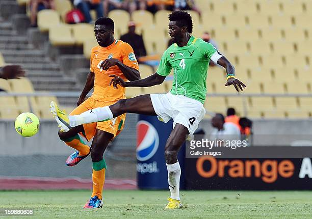 Yaya Toure of Ivory Coast vies with Emmanuel Adebayor of Togo during the 2013 Orange African Cup of Nations match between Ivory Coast and Togo at...