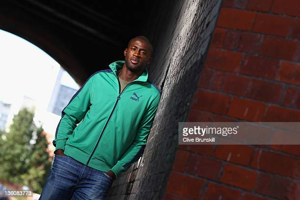 Yaya Toure of Manchester City and Ivory Coast poses for a portrait during a Puma photo session on October 19 2011 in Manchester England