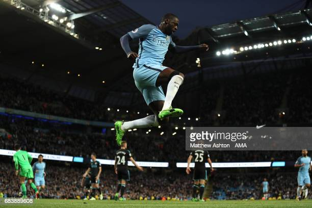 Yaya Toure of Manchester City celebrates after scoring a goal to make it 30 during the Premier League match between Manchester City and West Bromwich...