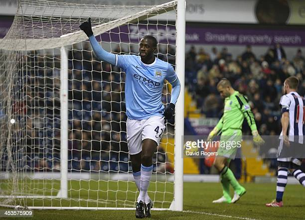 Yaya Toure of Manchester City celebrates after scoring his second goal during the Premier League match between West Bromwich Albion and Manchester...