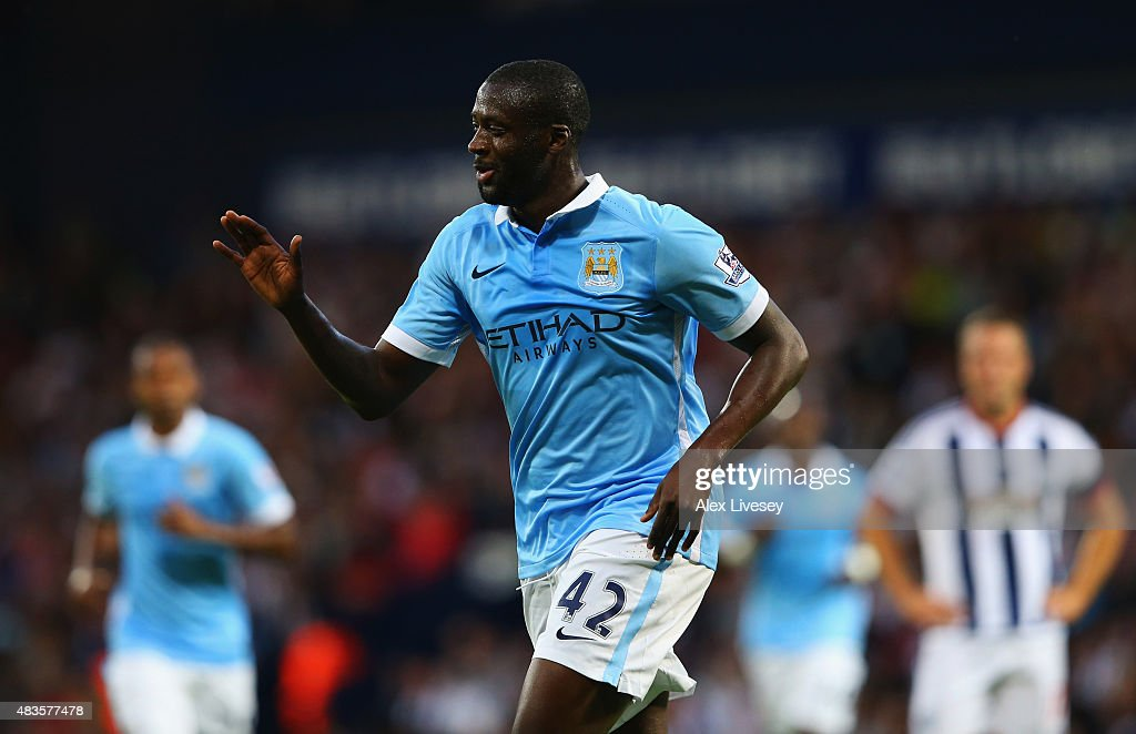 Yaya Toure of Manchester City celebrates as he scores their second goal during the Barclays Premier League match between West Bromwich Albion and Manchester City at The Hawthorns on August 10, 2015 in West Bromwich, England.