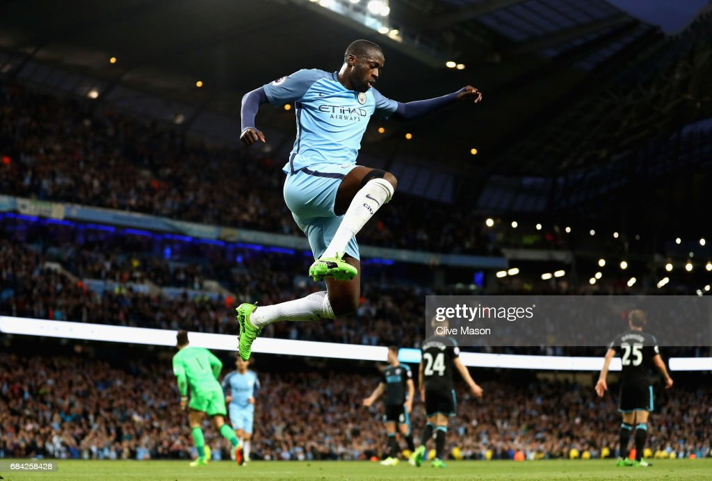 Yaya Toure of Manchester City celebrates scoring his sides third goal during the Premier League match between Manchester City and West Bromwich Albion at Etihad Stadium on May 16, 2017 in Manchester, England.
