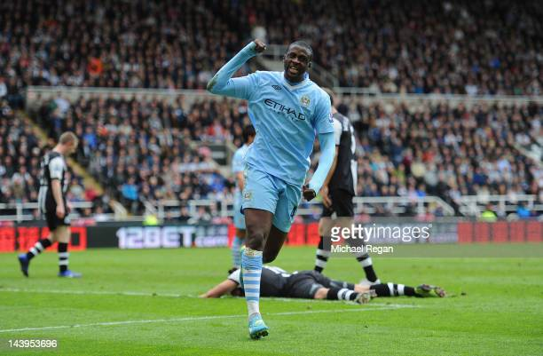 Yaya Toure of Manchester City celebrates scoring to make it 2-0 during the Barclays Premier League match between Newcastle United and Manchester City...