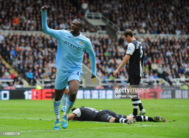 Yaya Toure of Manchester City celebrates scoring to make it 20 during the Barclays Premier League match between Newcastle United and Manchester City...