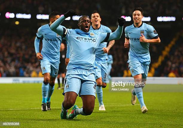 Yaya Toure of Manchester City celebrates the opening goal during the Barclays Premier League match between Manchester City and Sunderland at Etihad...