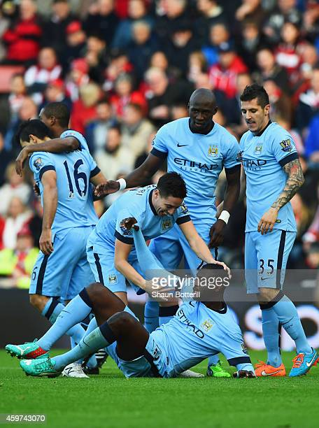 Yaya Toure of Manchester City celebrates with team mates as he scores their first goal during the Barclays Premier League match between Southampton...