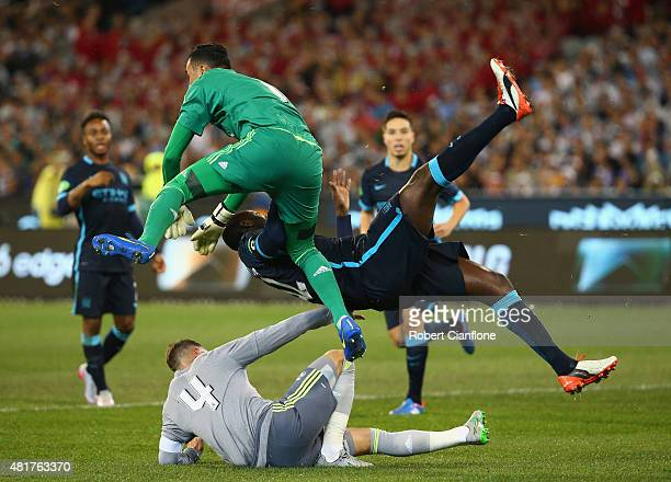 Yaya Toure of Manchester City collides with Real Madrid goalkeeper Keilor Navas during the International Champions Cup match between Real Madrid and...