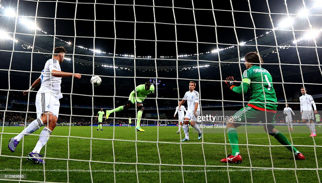 Yaya Toure of Manchester City directs a header at goal during the UEFA Champions League round of 16, first leg match between FC Dynamo Kyiv and Manchester City FC at the Olympic Stadium on February 24, 2016 in Kiev, Ukraine.