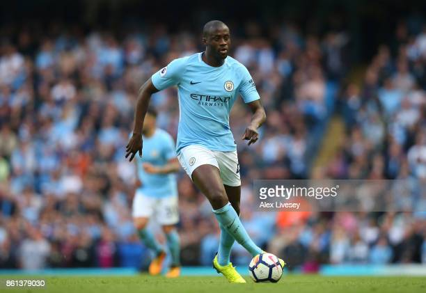 Yaya Toure of Manchester City during the Premier League match between Manchester City and Stoke City at Etihad Stadium on October 14 2017 in...