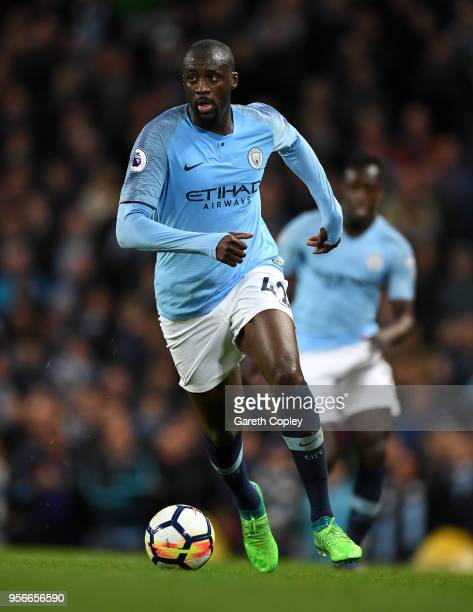Yaya Toure of Manchester City during the Premier League match between Manchester City and Brighton and Hove Albion at Etihad Stadium on May 9 2018 in...