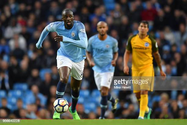 Yaya Toure of Manchester City in action during his last appearance for Manchster City during the Premier League match between Manchester City and...