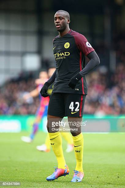 Yaya Toure of Manchester City in action during the Premier League match between Crystal Palace and Manchester City at Selhurst Park on November 19...