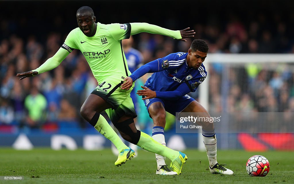 Yaya Toure of Manchester City in action with Ruben Loftus-Cheek of Chelsea during the Barclays Premier League match between Chelsea and Manchester City at Stamford Bridge on April 16, 2016 in London, England.