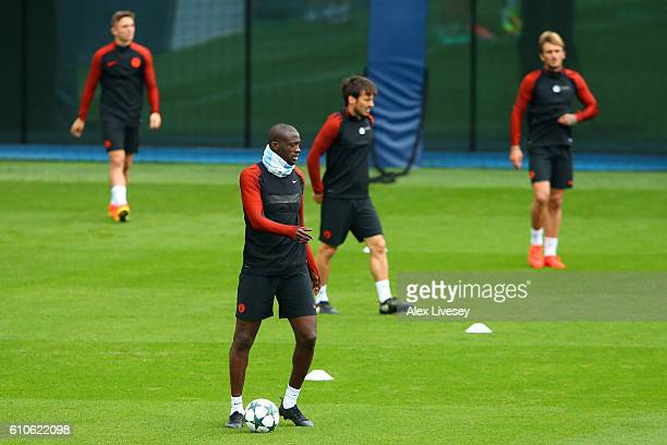 Yaya Toure of Manchester City looks on during a training session on the eve of their UEFA Champions League Group C match against Celtic at the City...