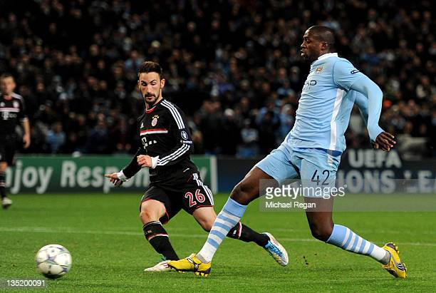 Yaya Toure of Manchester City scores his team's second goal during the UEFA Champions League Group A match between Manchester City and FC Bayern...