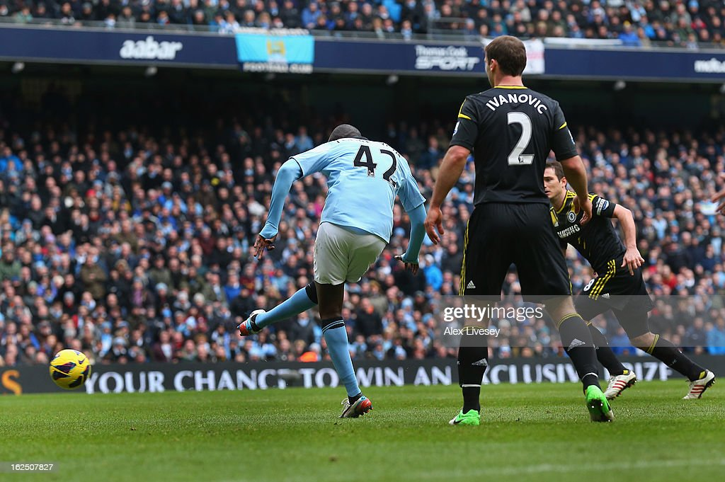 Yaya Toure of Manchester City scores the opening goal during the Barclays Premier League match between Manchester City and Chelsea at Etihad Stadium on February 24, 2013 in Manchester, England.