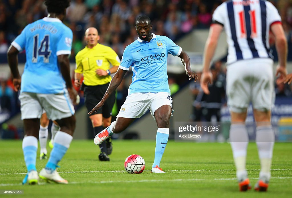 Yaya Toure of Manchester City (C) scores their second goal during the Barclays Premier League match between West Bromwich Albion and Manchester City at The Hawthorns on August 10, 2015 in West Bromwich, England.