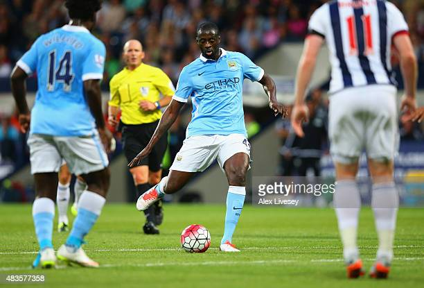 Yaya Toure of Manchester City scores their second goal during the Barclays Premier League match between West Bromwich Albion and Manchester City at...