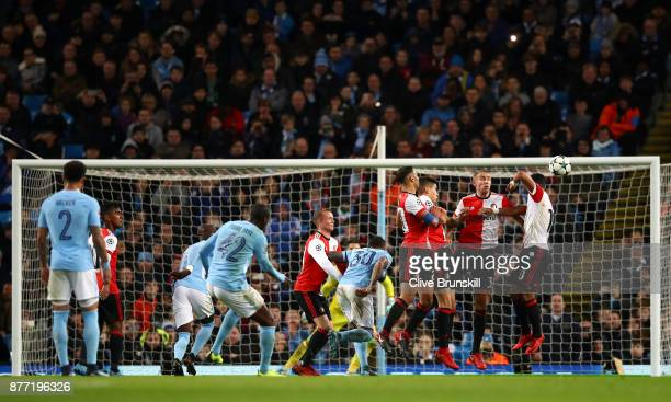 Yaya Toure of Manchester City shoots from a free kick during the UEFA Champions League group F match between Manchester City and Feyenoord at Etihad...