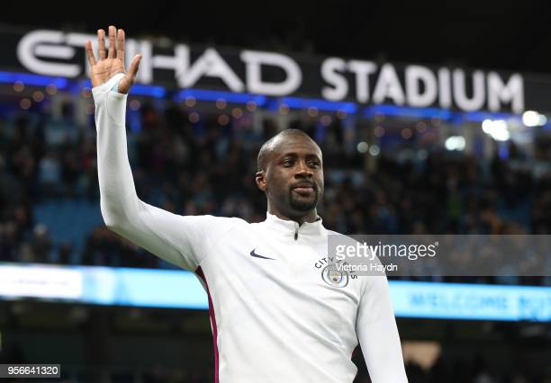Yaya Toure of Manchester City shows appreciation to the fans after the Premier League match between Manchester City and Brighton and Hove Albion at...