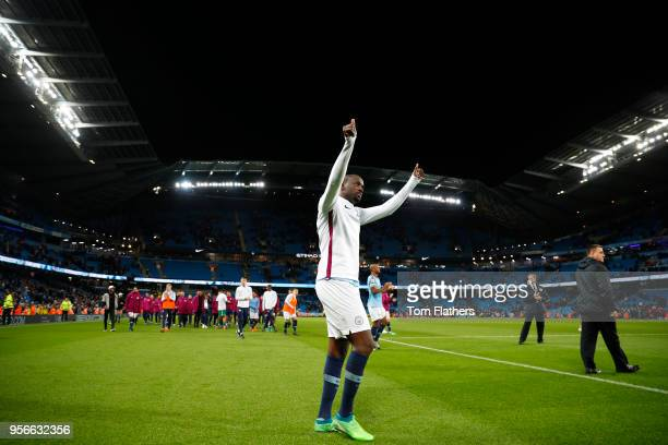 Yaya Toure of Manchester City shows appreciation to the fans during a lap of honour after the Premier League match between Manchester City and...