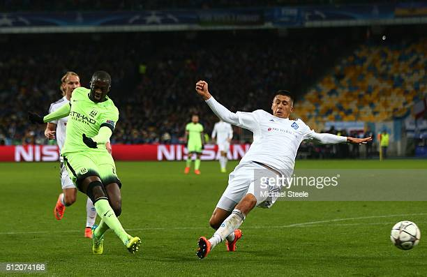 Yaya Toure of Manchester City takes a shot on goal past Yevhen Khacheridi of Dynamo Kiev during the UEFA Champions League round of 16 first leg match...