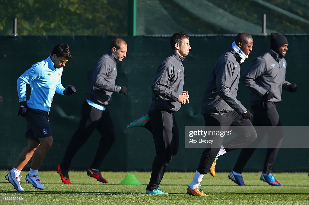 Yaya Toure of Manchester City warms up during a training session at the Carrington Training Ground on November 5, 2012 in Manchester, England.
