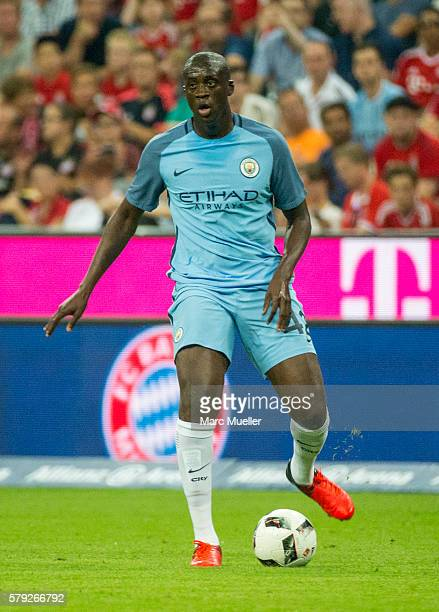 Yaya Toure of Manchester City with ball during a friendly match between Bayern Munich and Manchester City at Allianz Arena on July 20 2016 in Munich...