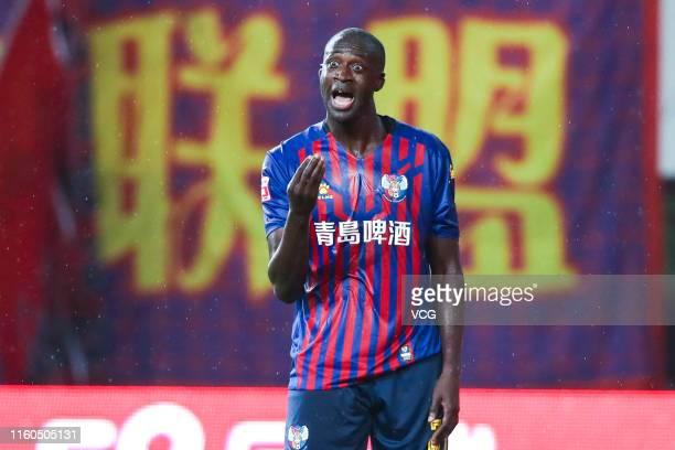 Yaya Toure of Qingdao Huanghai in action during the 16th round match of 2019 China League One between Qingdao Huanghai and Zhejiang Greentown at...