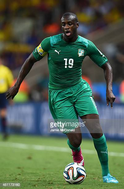 Yaya Toure of the Ivory Coast controls the ball during the 2014 FIFA World Cup Brazil Group C match between Greece and the Ivory Coast at Castelao on...