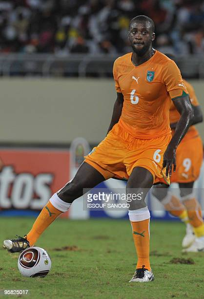 Yaya Toure of the Ivory Coast controls the ball during their group stage match against Ghana at the Chiazi stadium in Cabinda at the Africa Cup of...