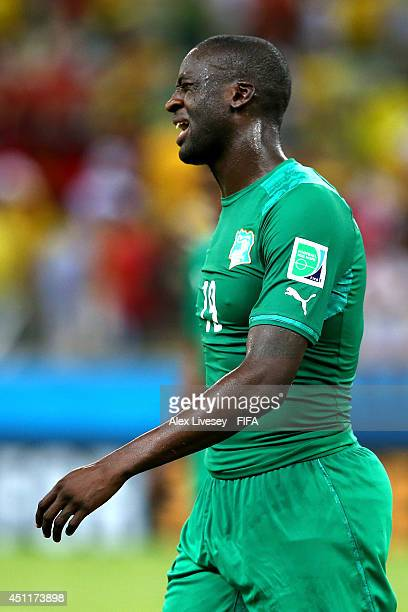 Yaya Toure of the Ivory Coast looks dejected after the 2014 FIFA World Cup Brazil Group C match between Greece and Cote D'Ivoire at Estadio Castelao...