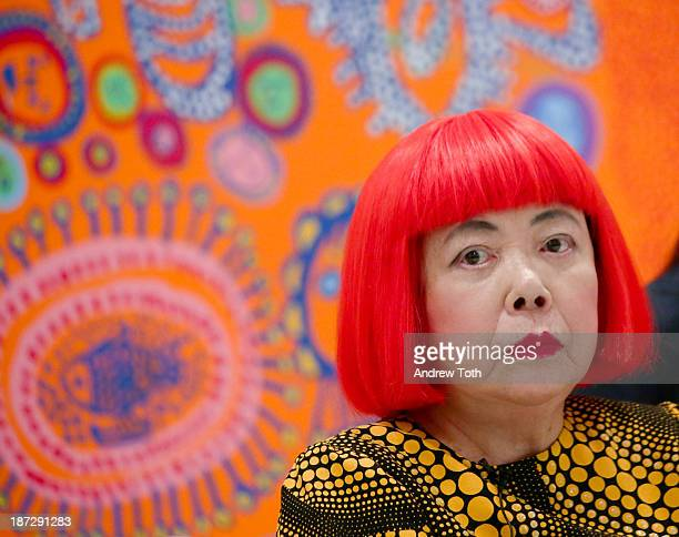 Yayoi Kusama attends the Yayoi Kusama 'I Who Have Arrived In Heaven' Exhibition Press Preview at David Zwirner Art Gallery on November 7 2013 in New...