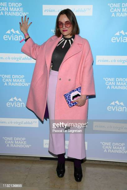 "Yaz Bukey attends the launch of Evian and Virgil Abloh's limitededition ""One Drop can make a Rainbow"" collection at Théâtre National de Chaillot..."